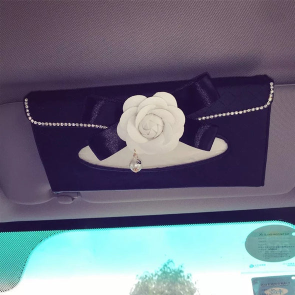 Car Sun Visor Organizer Tissue Holder with Camellia - Carsoda - 1