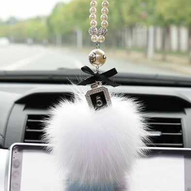 Bling Car Rear View Mirror Hanging Badge and Pom pom