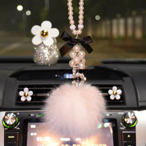 Bling Car Rear View Mirror Hanging Five Number Badge and Pom pom