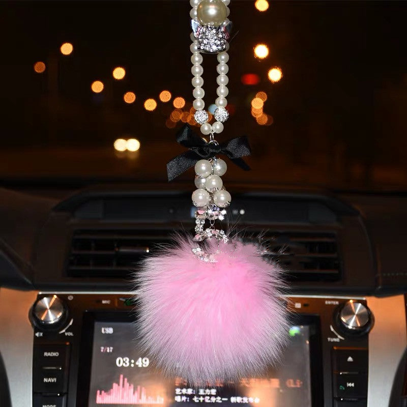 How To Unlock Steering Wheel >> Bling Car Rear View Mirror Hanging Five Number Badge and Pom pom – Carsoda