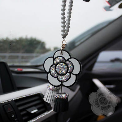 Bling Car Mirror Charm Ornaments-Hanging Camellia Rearview Mirror Pendant