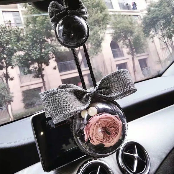 Handmade Perserved Rose in Glass Car Charm Hanging Ornament Pendant