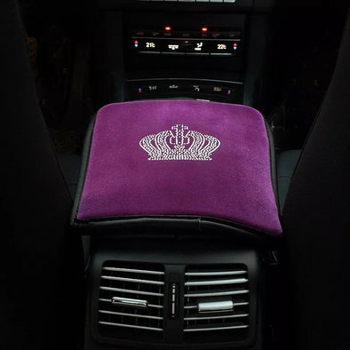 Purple Velvet Car Center Console Cover with Bling Crown - Carsoda - 1