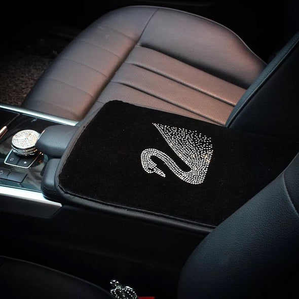 Black Velvet Swan Car Center Console Cover with Bling Rhinestones