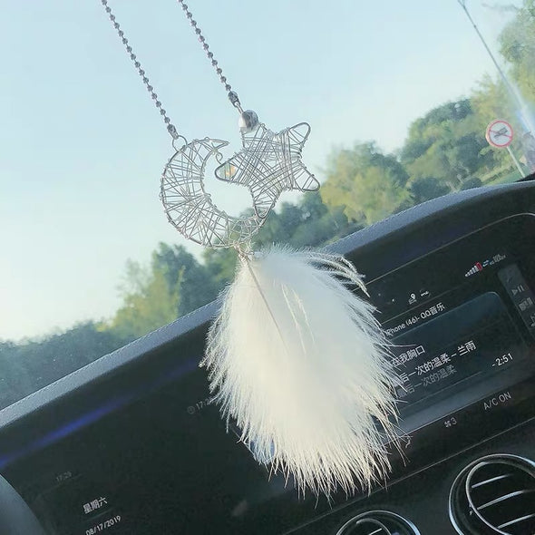 Moon and Star Bling Car Charm Rear View Pendant with Fur