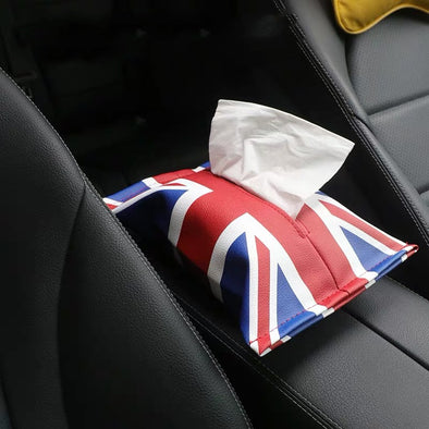 Mini Cooper Tissue Holder Soft Box with Union Jack Checkers rainbow pattern