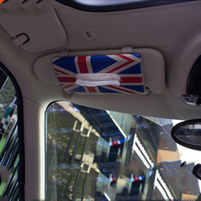 Sun Visor Tissue Holder Soft Box with Union Jack Checkers rainbow patterns