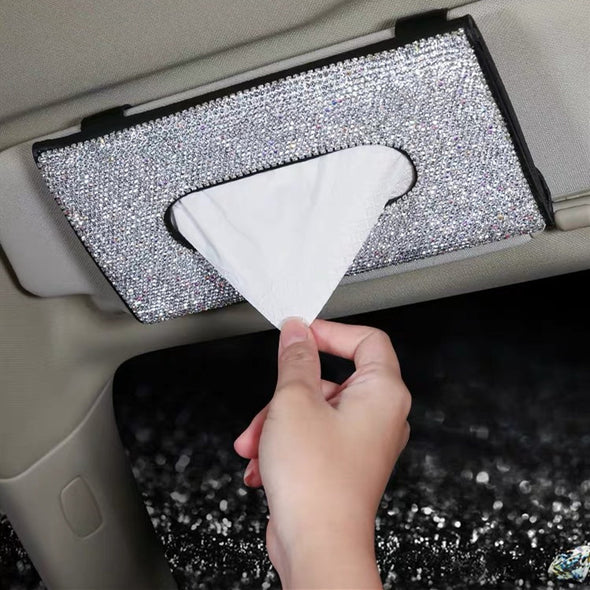 Bedazzled Sparkling Bling Car Sun Visor Organizer Tissue Box with Rhinestones