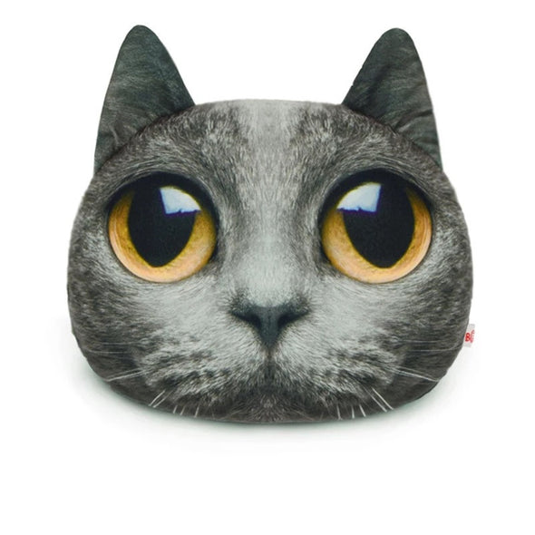 Kitty Cat Meow Headrest Pillow- Grey