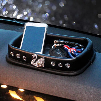 Black Car Dashboard Anti-slippery Organizer Holder with Bling Swan