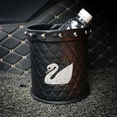 Bling Your Ride - Black Water resistant Car Trash Can with Bling swan