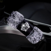 Black Velvet Hand Brake & Gear Shift Cover with Fur Trim and Bling Crown