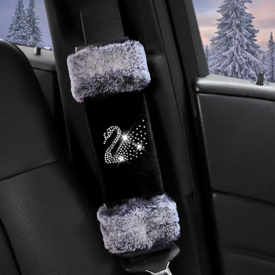 Black Velvet Hand Brake & Gear Shift Cover with Fur Trim and Bling Swan