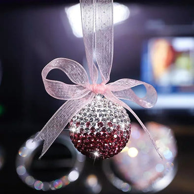 Car Mirror Hanging Charm-Crystal Bling Globe Ball
