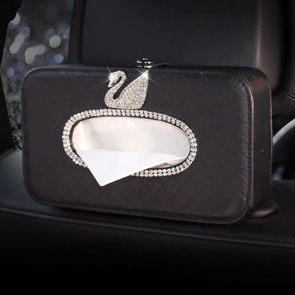 Bling Car Seat Back Tissue Box with Crystal Swan