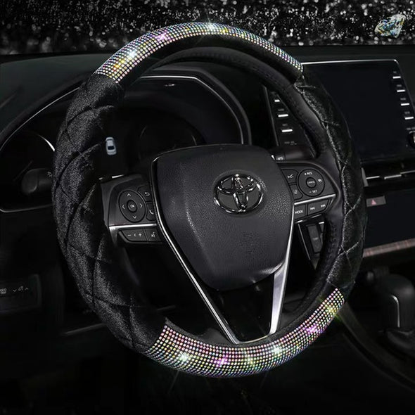 Half Velvet and Half AB Crystal Bedazzled Steering Wheel Cover with Rhinestones