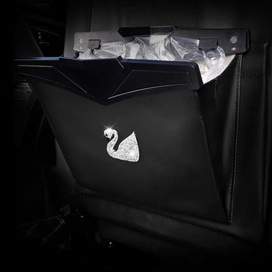 Car Seat back Black Foldable Trash Bag with Bling swan - Get your car neat!