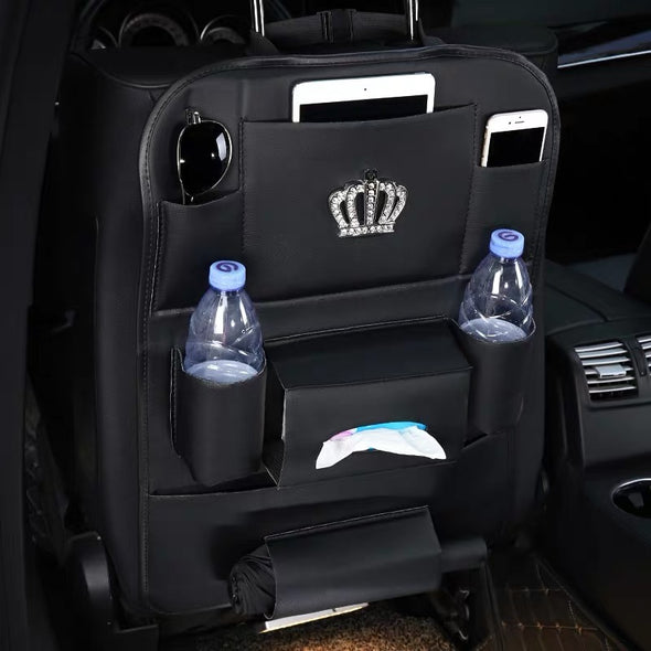 Girly Back Seat Organizer for iPad Tissue Water bottle umbrella --with Bling Crown