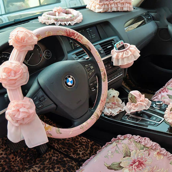 Pink Steering wheel cover and/or Matching seatbelt cover with Chiffon Lace Flowers