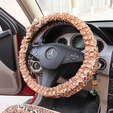Leopard Cheetah Steering wheel cover and/or Matching seatbelt cover with Ruffles