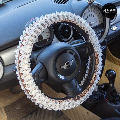 Leopard Cheetah Steering wheel cover and/or Matching seatbelt cover with Lace