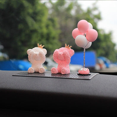 Bling Crown Bear Car Dashboard with Anti-slippery Mat Teddy