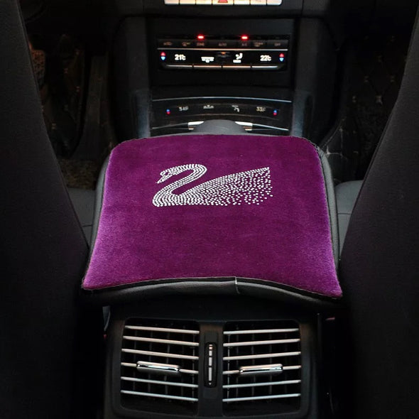 Purple Velvet Swan Center Console Cover with Bling