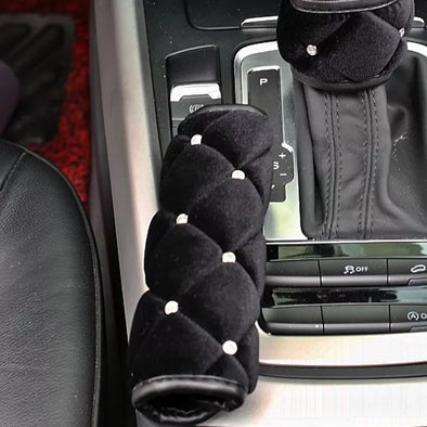 Black Velvet Bling Hand Brake & Gear Shift Cover 2-pieces-Set with Rhinestones