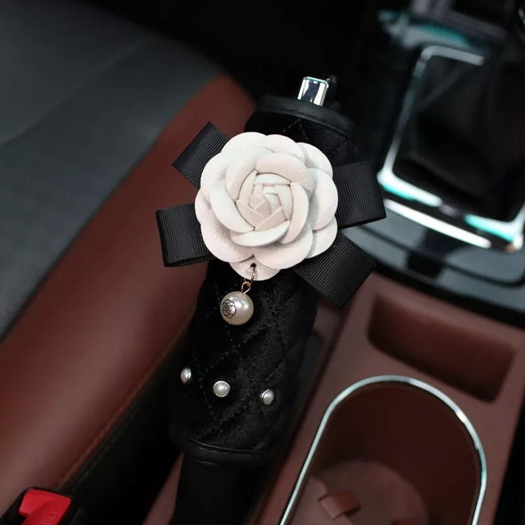 Black Hand Brake & Gear Shift Cover with Camellia and Rhinestones