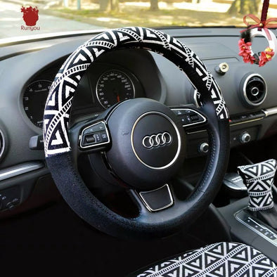 Boho Zigzag Black and White Cotton Steering wheel cover