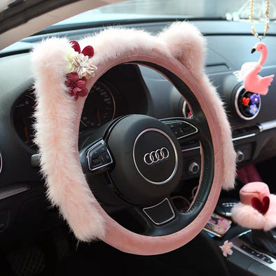 Cat Ears Fluffy Pink Steering wheel cover with a flower