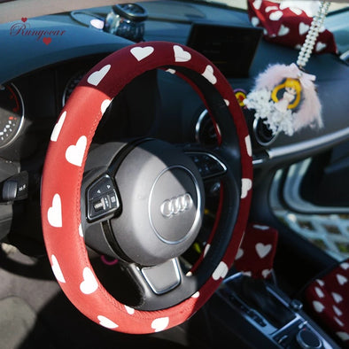 Red Heart Print Steering wheel cover