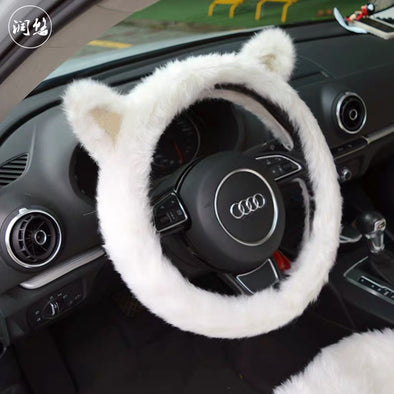 White Cat Fluffy Car Accessories- Steering wheel cover, headrest pillow and/or seat cover- Warming and cozy for Winter