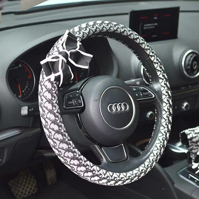 Luxury Black and White Cotton Steering wheel cover with a bow