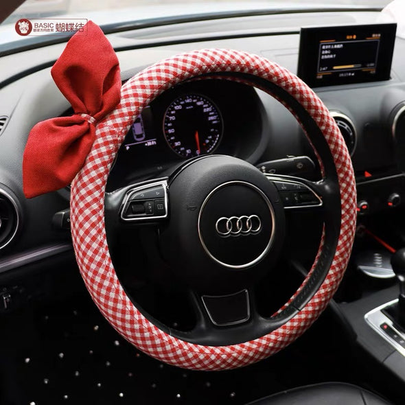 Checker pattern Cotton Steering wheel cover with a bow