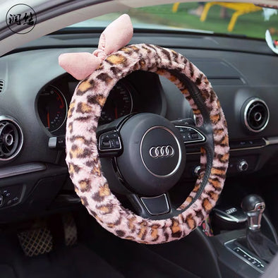 Pink Fluffy Leopard Print Steering wheel cover with a Bow