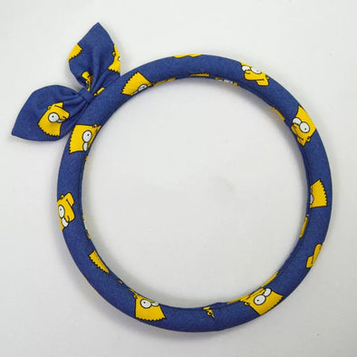 Simpons Denim Steering wheel cover with a bow