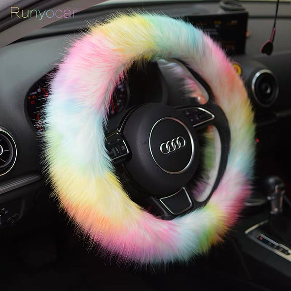 Cozy Fluffy Car Accessories- Steering wheel cover and/or seat cover- Warming and cozy for Winter