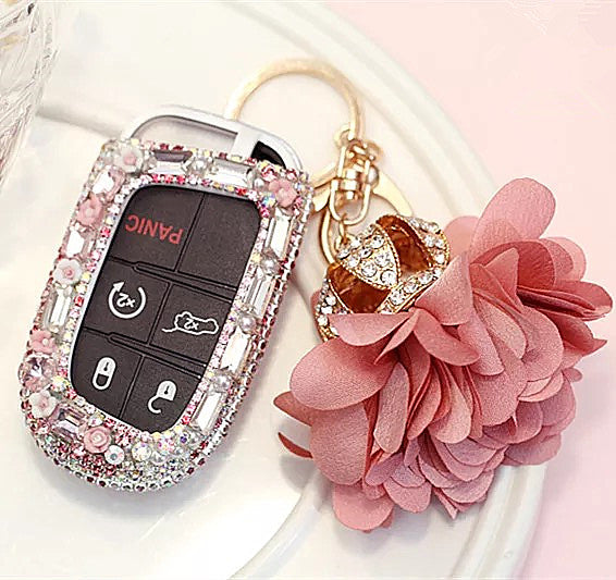 Bling Bedazzled JEEP Dodge Key FOB Cover with Rhinestones- Pink for Cherokee Wrangler