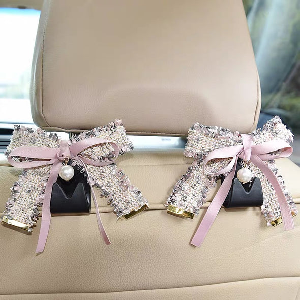 Tweed Bow and pearl Elegant Car Seat Hooks Hanger (2pcs)