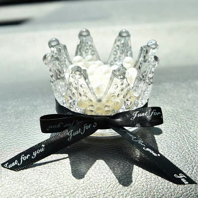 Bling Crystal Crown Car Dashboard Decoration with Anti-slippery Mat