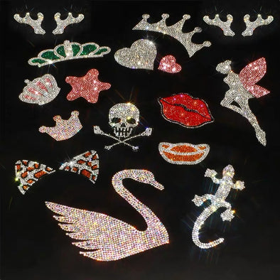 Bling Emblem Sticker Skull Stars Deer Antler Pink Fairy Red Lips  for DIY decals