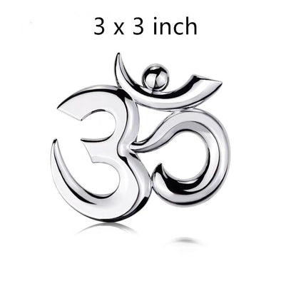 OM Meditation 3D metal Chrome Emblem Badge Decal