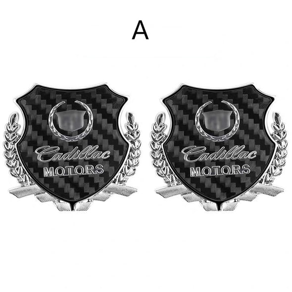 Cadillac Chrome Emblem Silver Golden Metal Side Badge (2 pcs)