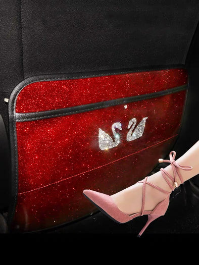 Red Car Seat Back Anti-kick Mat with Bling Swan