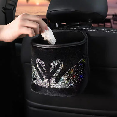 Bling Your Ride - Seat Back Velvet Rhinestone Crown Swan Car Trash Can