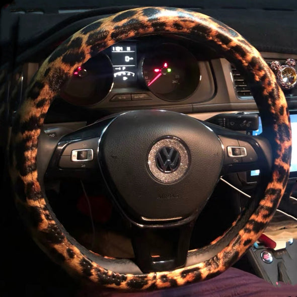 D-Shaped Cheetah Leopard Print Steering Wheel Cover