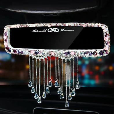 Bling Car Rear View Mirror Multicolor Rhinestone Crystal Clip-on Chrome with Crystal Pendant
