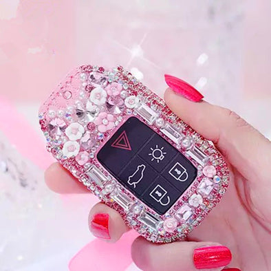 Bling Bedazzled Volvo Key FOB Cover with Rhinestones- Pink Rhinestones Key case for Volvo  v40/v90/s90/sx90
