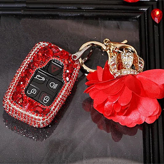 Jaguar XF Discovery Range Rover Land Rover Bling Car Key Holder FOB- Red
